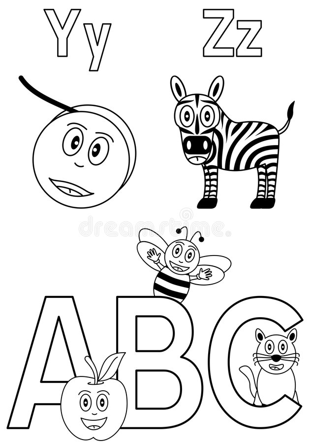 Free Coloring Alphabet For Kids [7] Royalty Free Stock Photos - 8933078