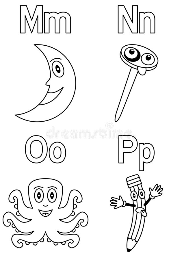 Coloring Alphabet For Kids [4] Royalty Free Stock Photos