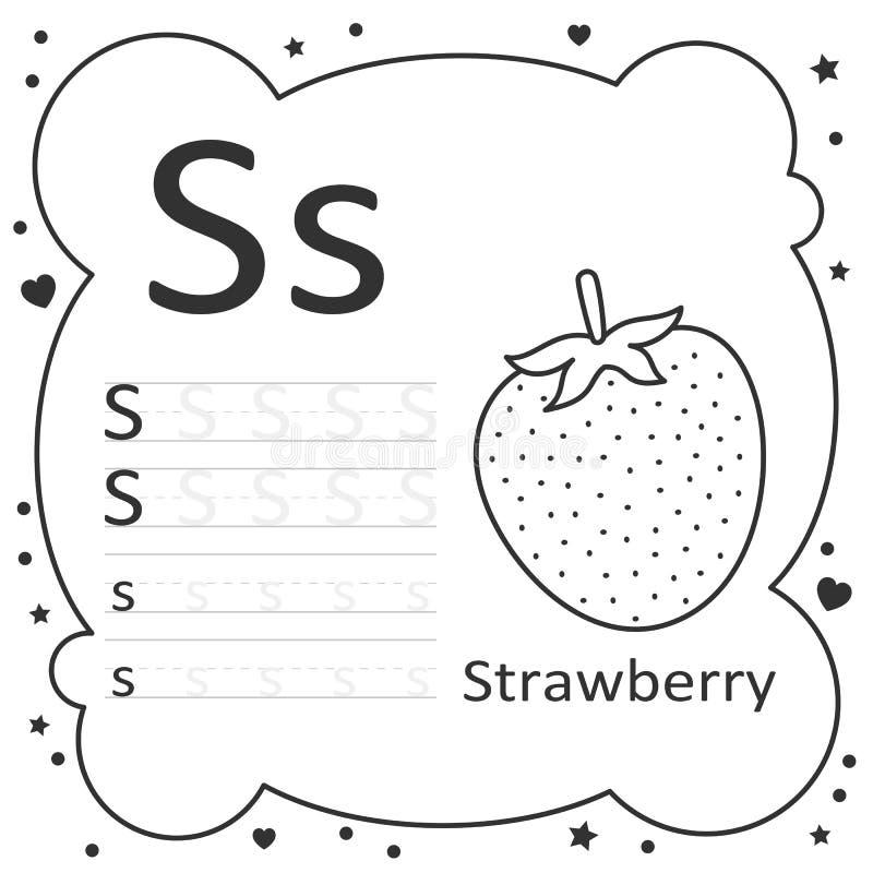 Coloring Alphabet Letters Strawberry Stock Vector - Illustration Of  Worksheet, Kids: 195343119