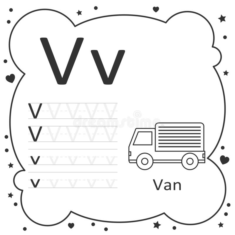 Coloring Alphabet Tracing Letters Van Stock Vector - Illustration Of Learn,  Primary: 194324699