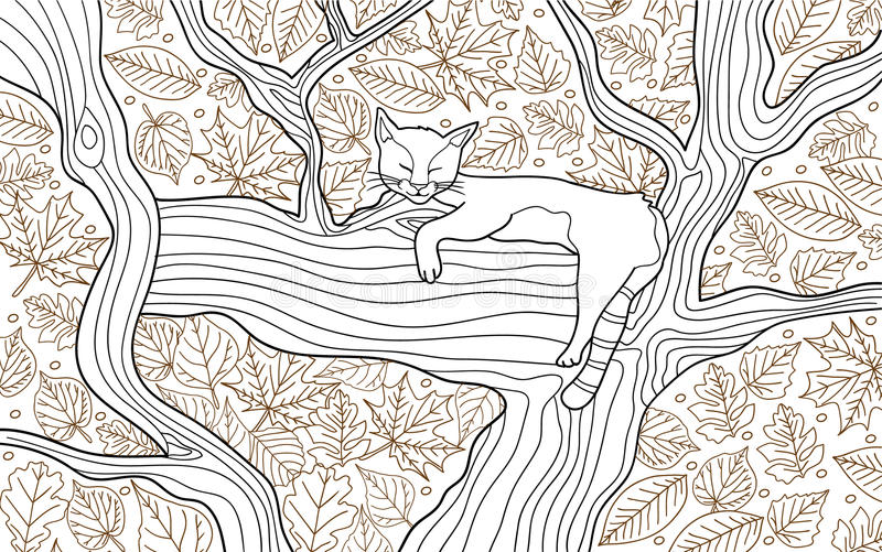 Coloring animal book page for adults. Funny cat sleeping on the tree. Framed by leaves, black and white graphics. Hand drawn vector illustration royalty free illustration