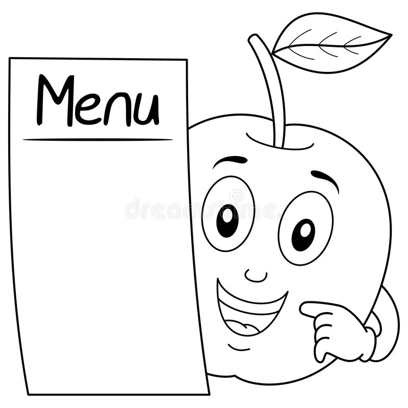 Coloring Apple Character With Blank Menu Stock Vector - Illustration ...
