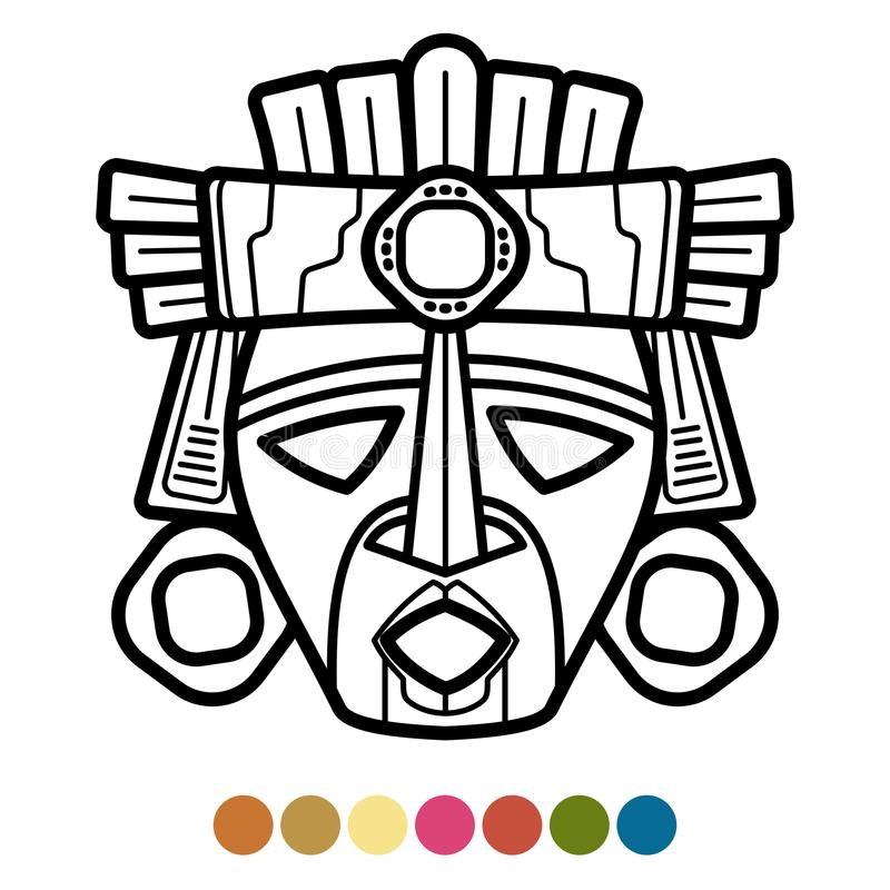 Coloring atzec, african, mexican mask stock illustration