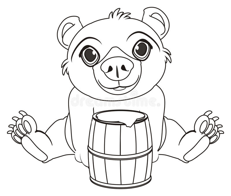 Coloring bear with barrel stock illustration
