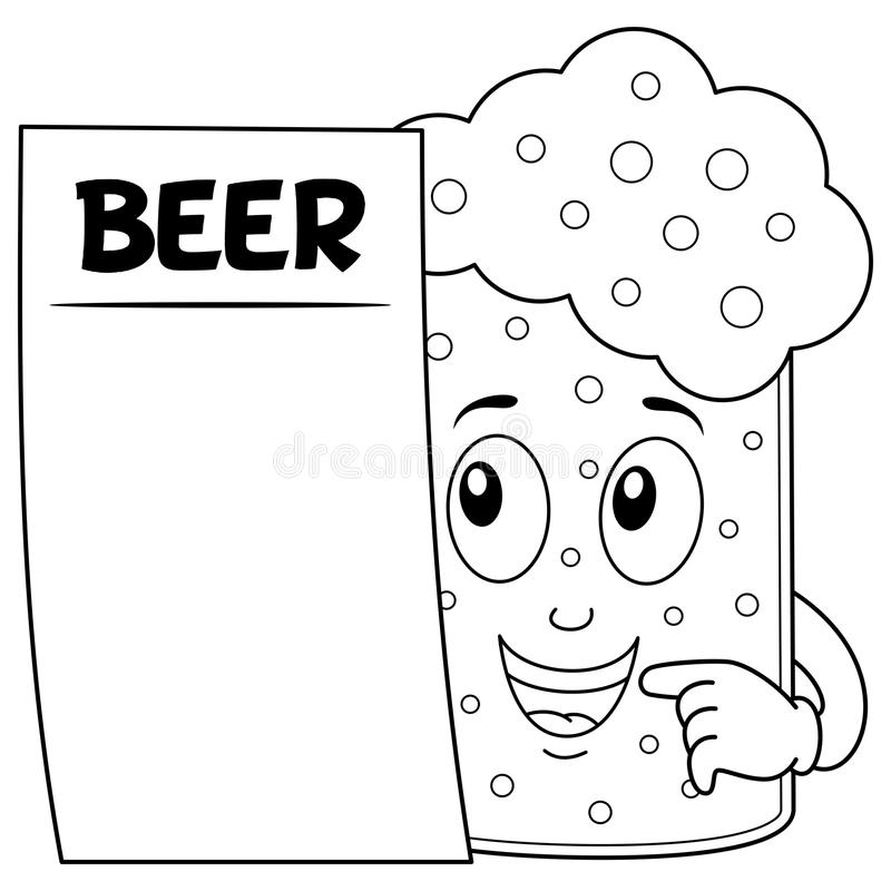 Coloring Beer Glass Character With Menu Stock Vector - Illustration ...