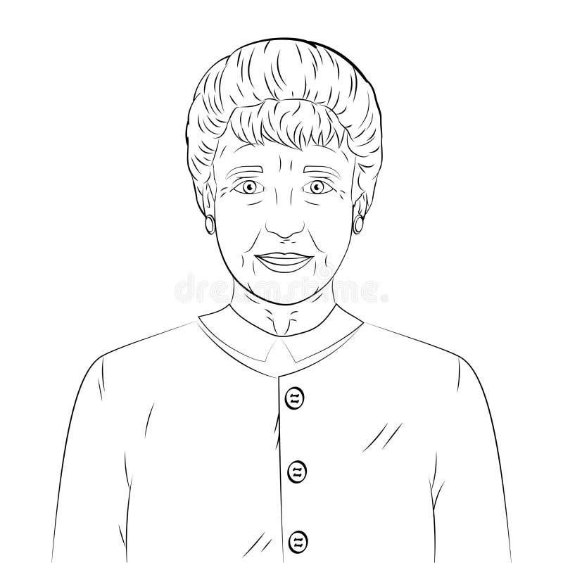 Coloring, black lines on a white background. Old man, grandmother. Raster vector illustration