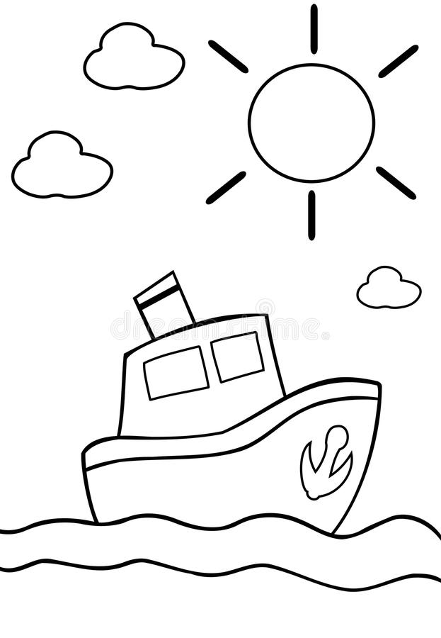 Coloring boat royalty free illustration
