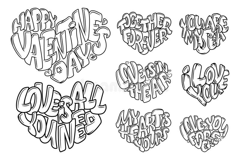 Coloring book for Adult. Design for wedding invitations and Valentine`s Day, lettering in heart. Quote about love. Vector Coloring book for Adult. Design for royalty free illustration