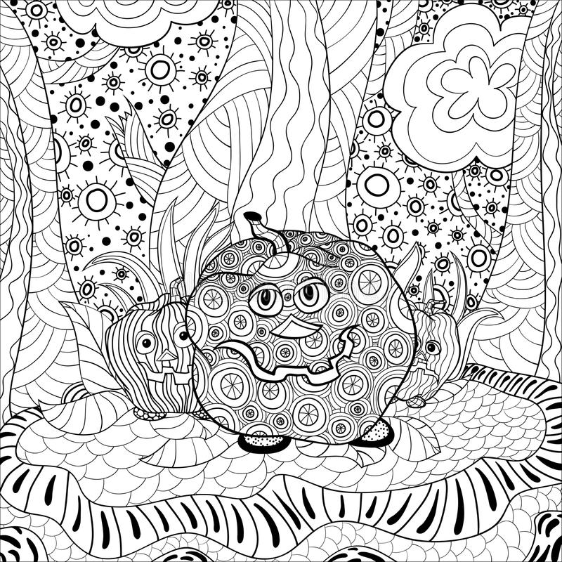Coloring book adult halloween royalty free illustration