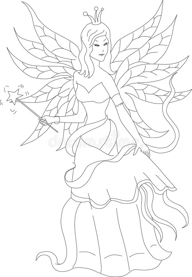 Coloring book for adult and older children. Coloring page with f stock illustration