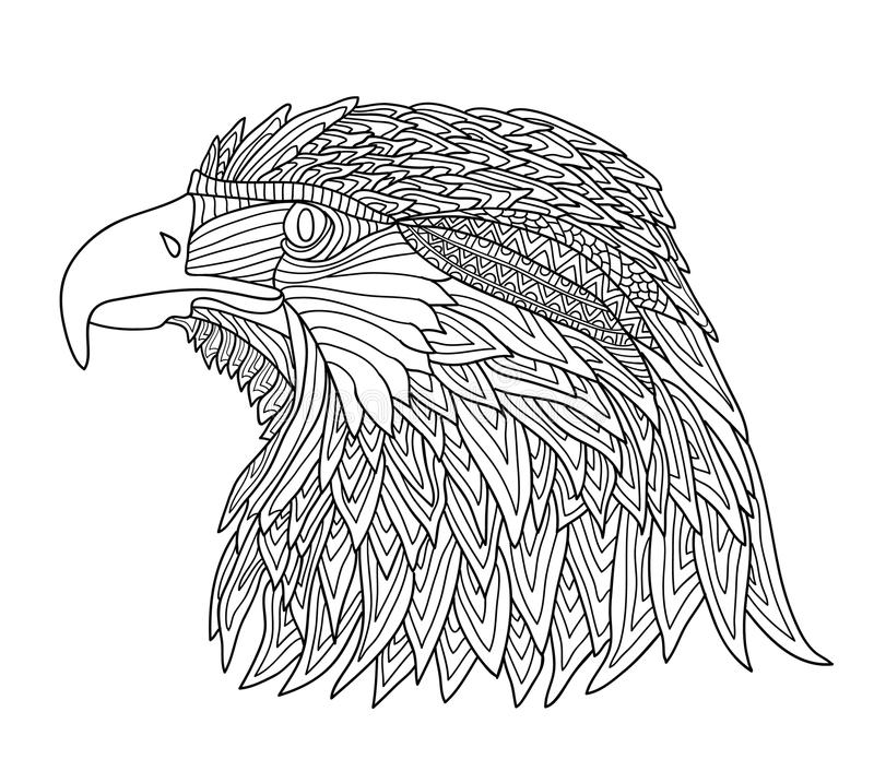 Coloring Book for Adults and children. Brutal eagle royalty free illustration