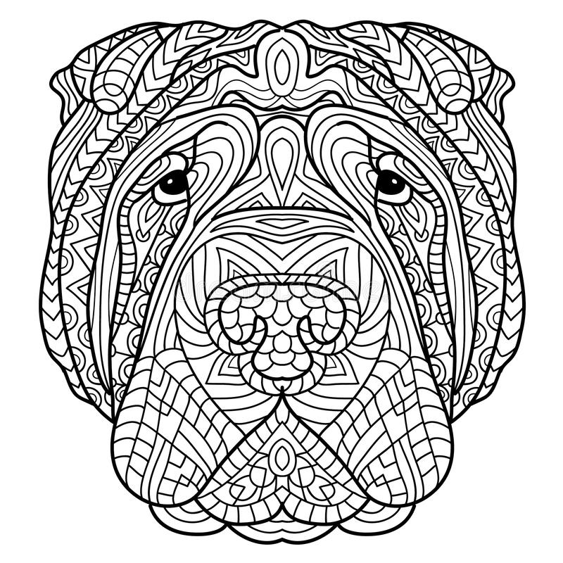 Coloring book for adults. Dog book. The head of a dog Sharpay with tribal pattern. stock illustration