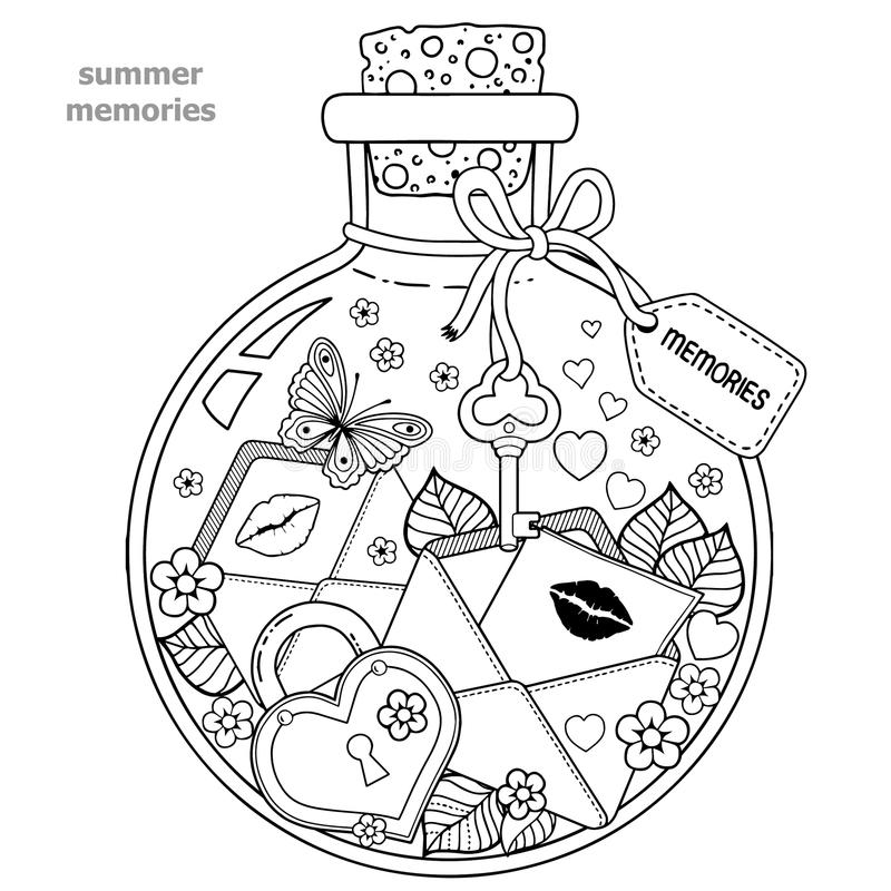 Coloring book for adults. A glass vessel with memories of summer. A bottle with bees, butterflies, ladybug and leaves. vector illustration