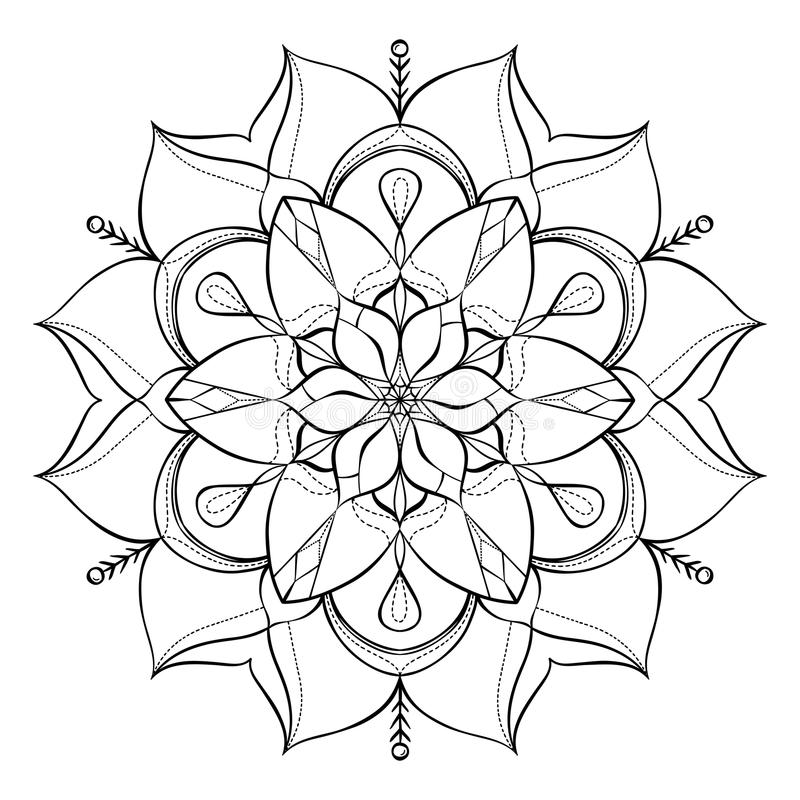 Coloring book for adults. Look my portfolio for more. Coloring book for adults and children. Round floral mandala element. Anti stress and relaxation. Look my royalty free illustration