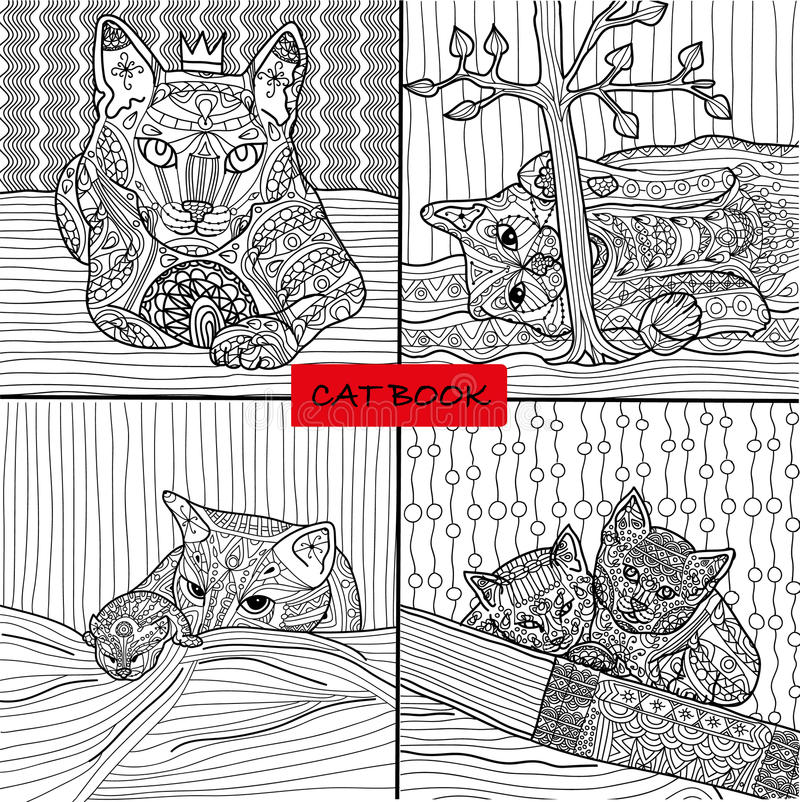 Coloring book for adults - 2 set of four drawings coloring cat pages for adults and children, doodle. Coloring book for adults - 2 set of four drawings coloring royalty free illustration