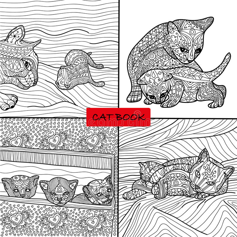 Coloring book for adults - cat pages for adults and children, doodle. Adult coloring. Coloring book for adults - 3 set of four drawings coloring cat pages for vector illustration