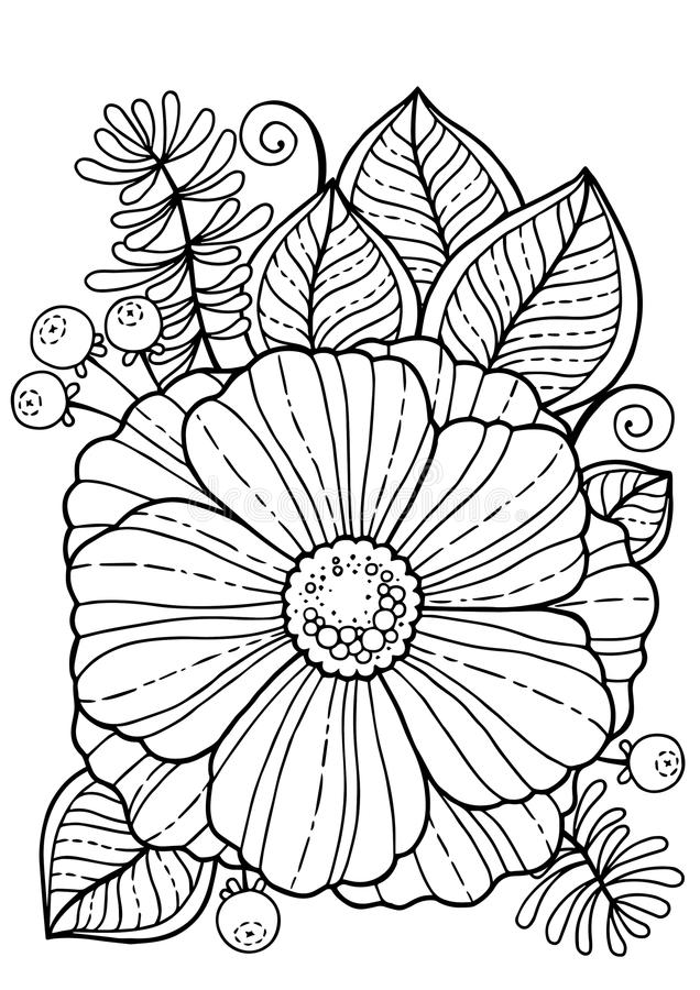 Coloring book for adults. Summer flowers. Vector isolated elements. Vector image for print on clothes, textiles, posters, invitati. Ons stock illustration