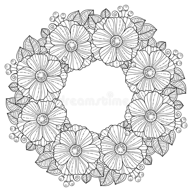 Coloring book for adults. Summer flowers. Vector isolated elements. Vector image for print on clothes, textiles, posters, invitati. Coloring book for adults stock illustration