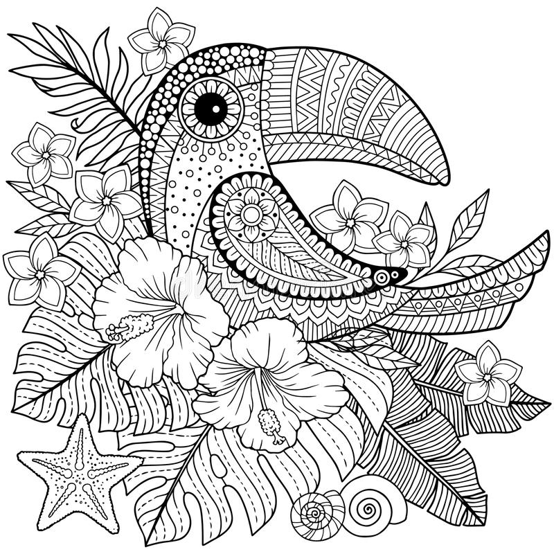 Coloring book for adults. Toucan among tropical leaves and flowers. Coloring page for relax and relif stock illustration