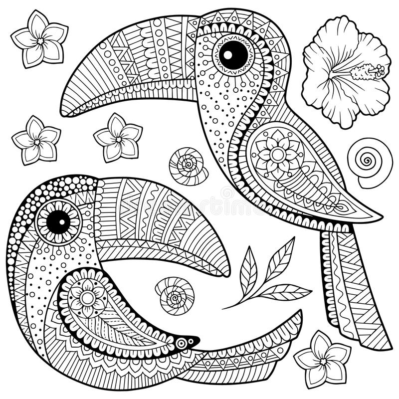 Coloring book for adults. Toucan among tropical leaves and flowers. Coloring page for relax and relif vector illustration