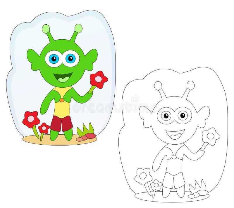 Coloring book - alien cartoon stock photos
