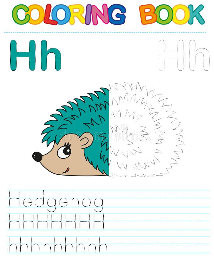Vector coloring book alphabet. Educational game for kid. Simple level of difficulty. Restore dashed line and color the picture. Tr royalty free illustration