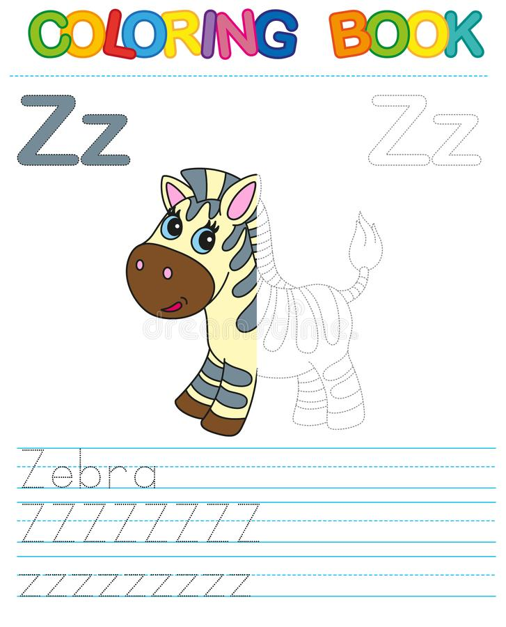 Vector coloring book alphabet. Educational game for kid. Simple level of difficulty. Restore dashed line and color the picture. Tr vector illustration