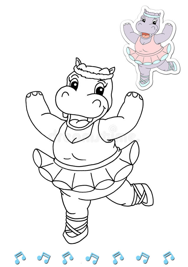 Download Coloring Book Animal Dancers 17 - Hippo Stock Illustration - Image: 15045841