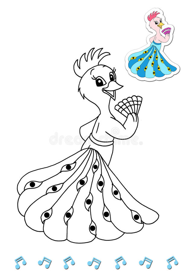 Download Coloring Book Animal Dancers 4 - Peacock Stock Illustration - Image: 15032022