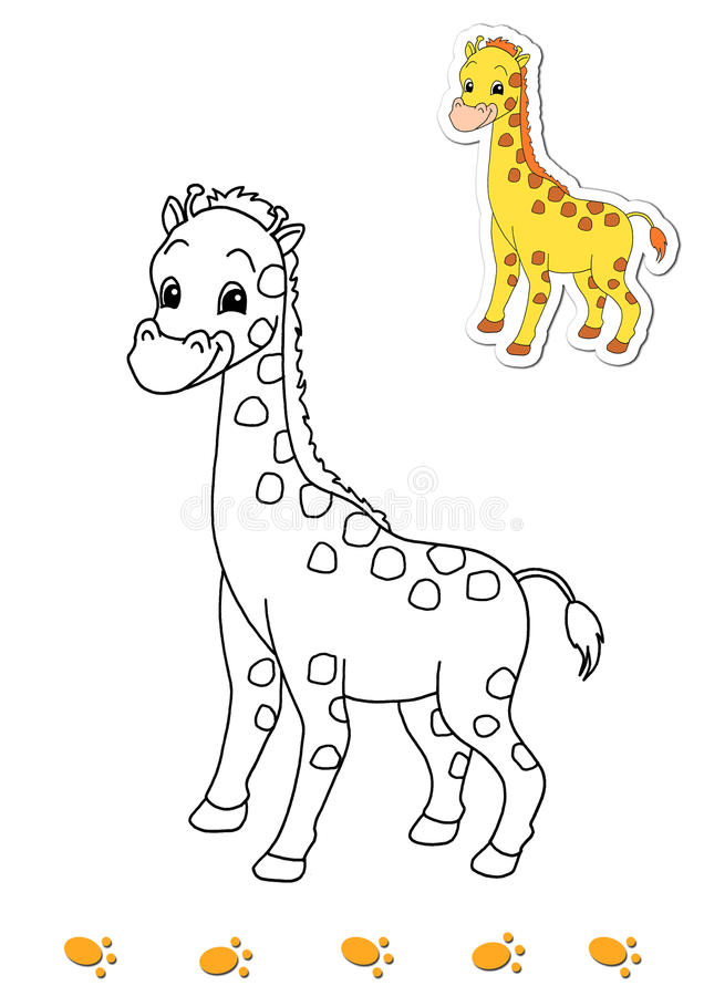 Coloring book of animals 10 - giraffe vector illustration