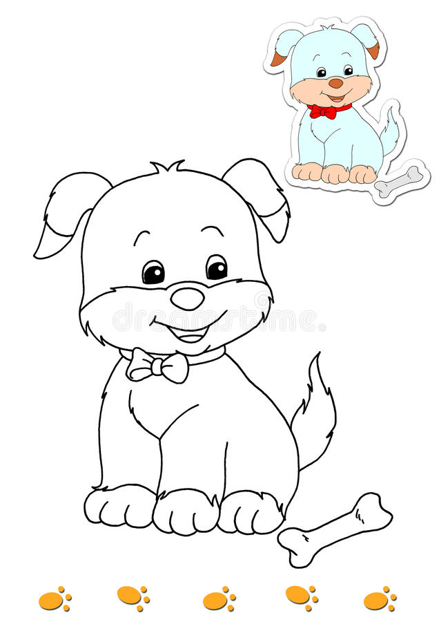 Coloring book of animals 9 - dog vector illustration