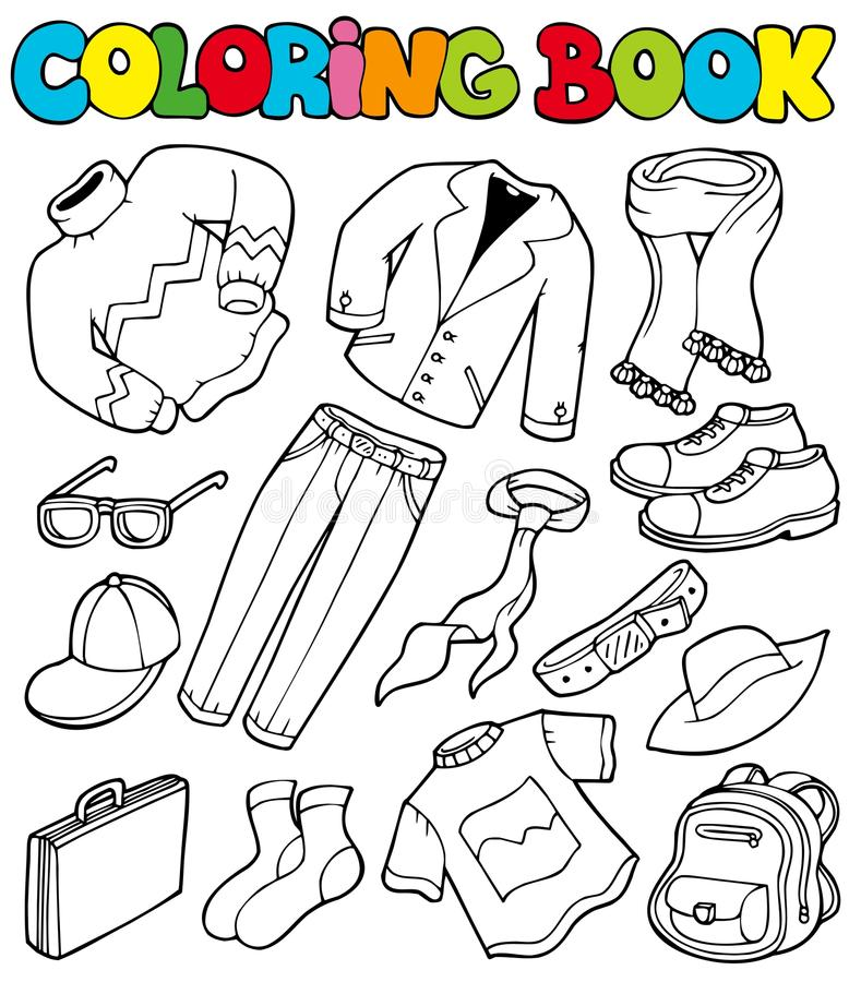 Coloring book with apparel 1 royalty free illustration