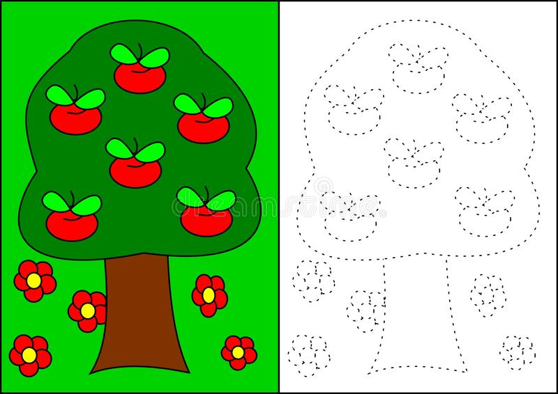 Download Coloring Book Apple Tree Stock Vector Image Of Concept