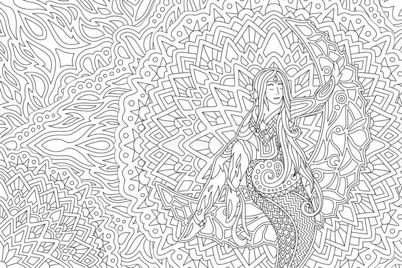 Coloring book art with beautiful girl on the moon vector illustration