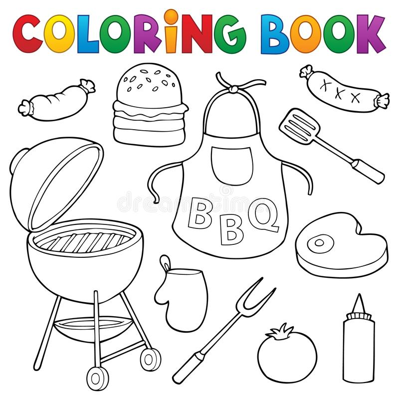 Coloring Book Barbeque Set 1 Stock Vector - Illustration of cooking ...
