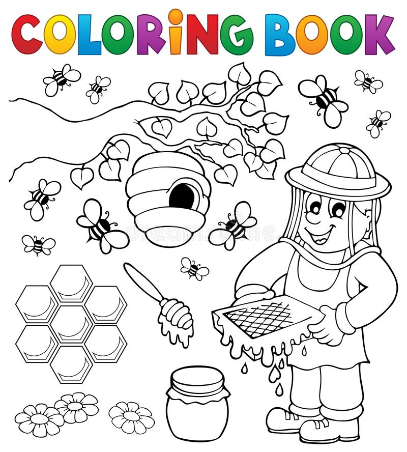 Coloring book with beekeeper stock illustration