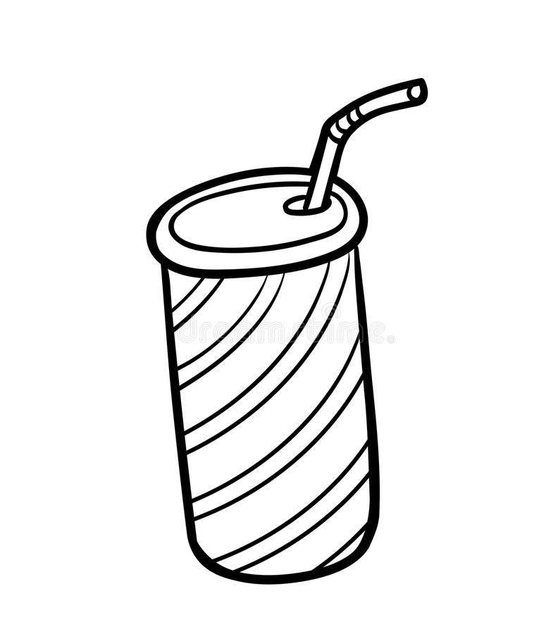 Coloring book, Beverage in can with straw. Coloring book for children, Beverage in can with straw stock illustration