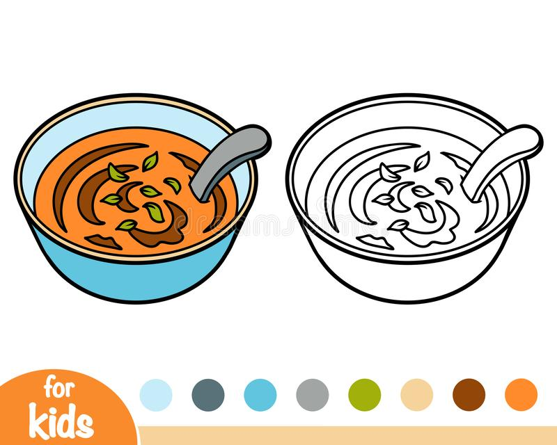Coloring book, Bowl of soup vector illustration