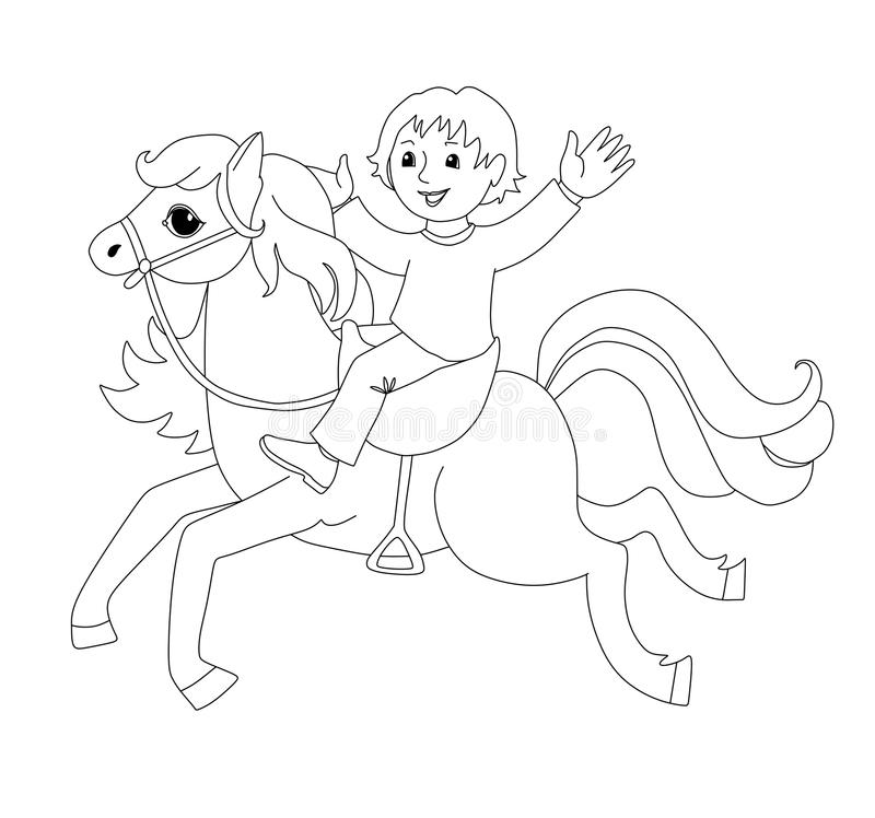 Coloring book with boy on horse. stock illustration