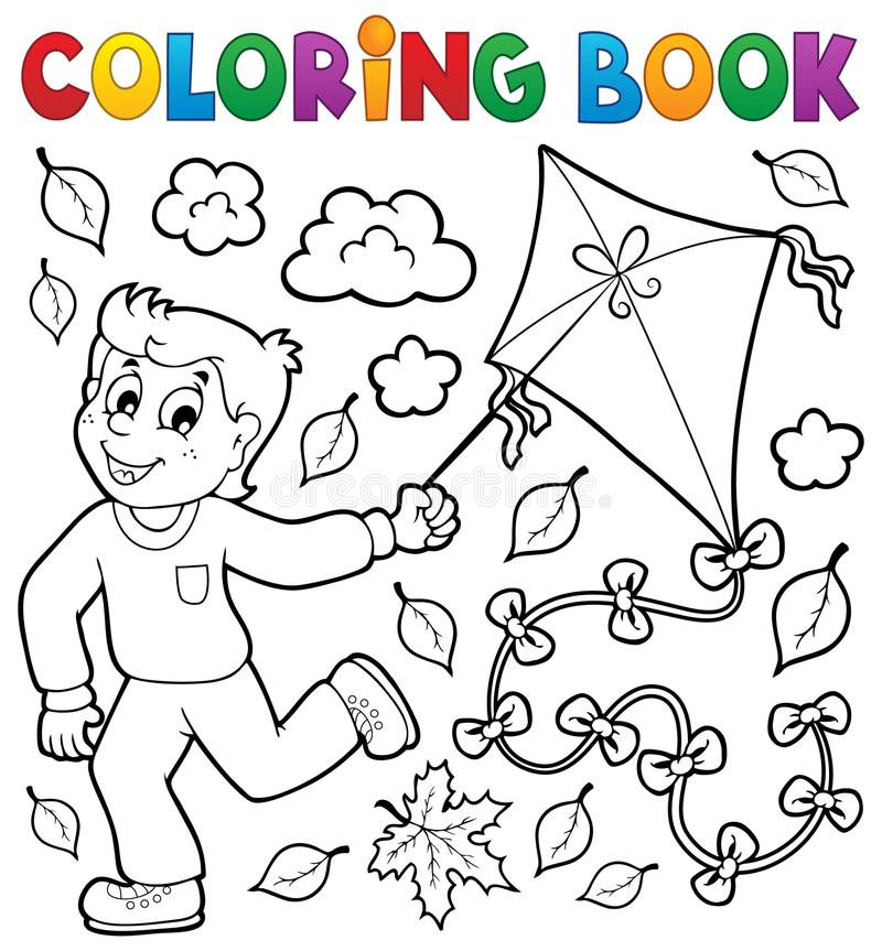 Coloring book with boy and kite stock illustration