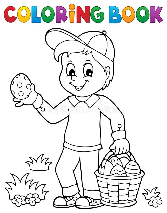 Free Coloring Book Boy With Easter Eggs 1 Royalty Free Stock Images - 172359469