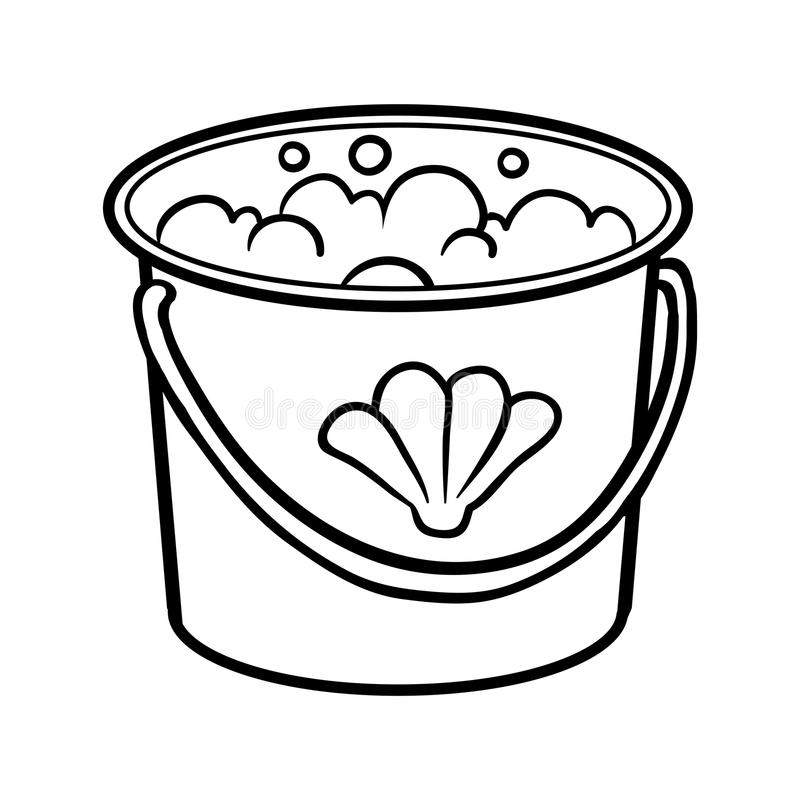 Download Coloring Book Bucket With Water Stock Vector
