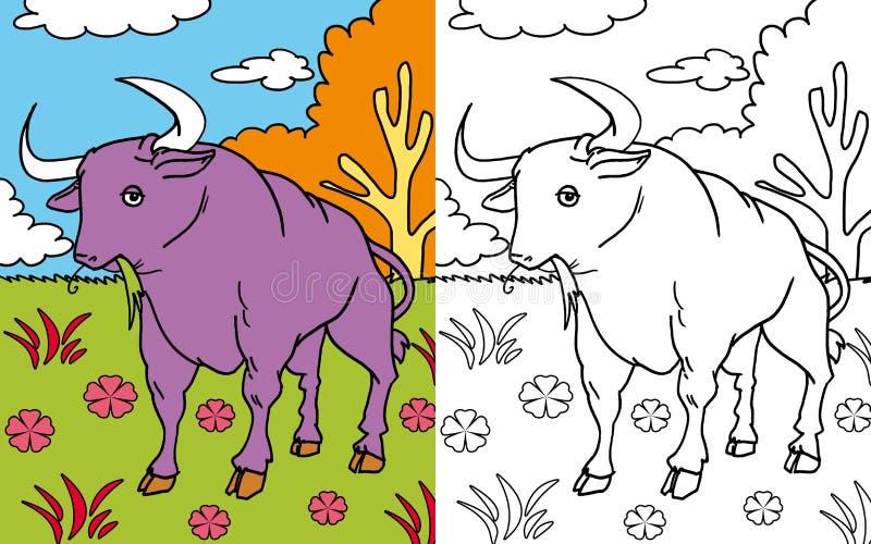Coloring book bull vector illustration