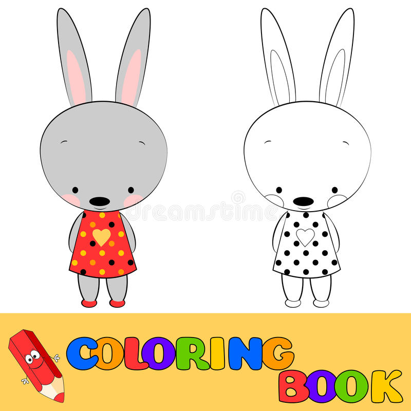 Coloring book bunny for children stock illustration