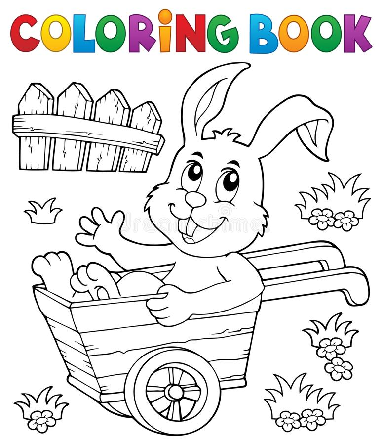 Free Coloring Book Bunny In Wheelbarrow 1 Stock Photo - 138541900