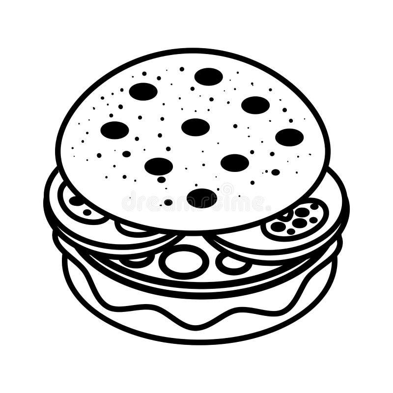 coloring book for children cartoon burger stock vector