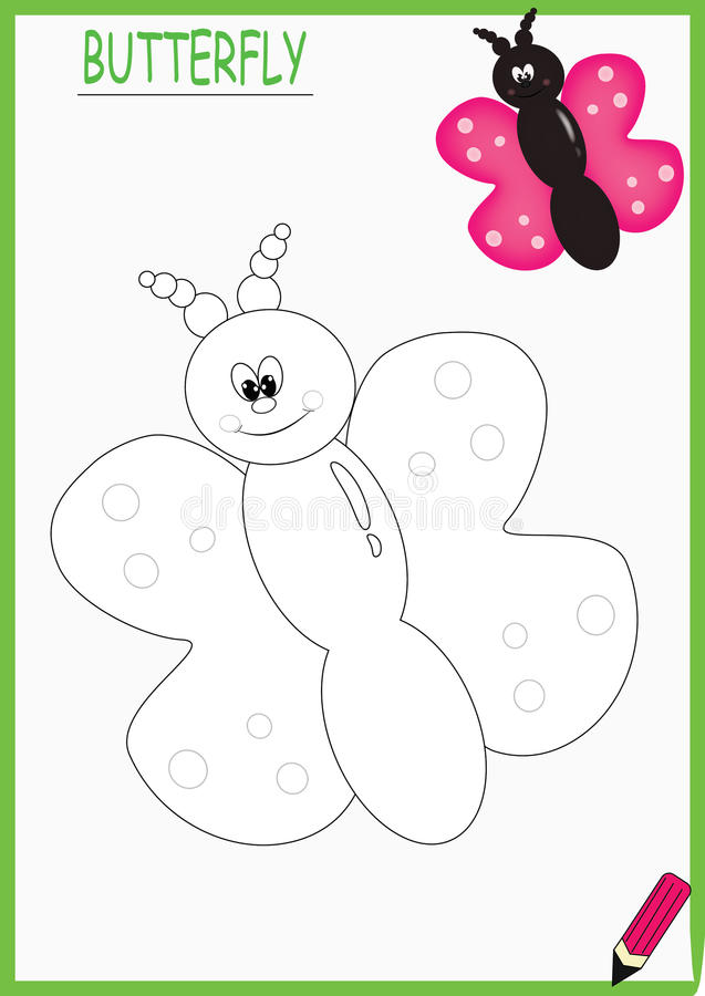 Coloring book butterfly stock photo