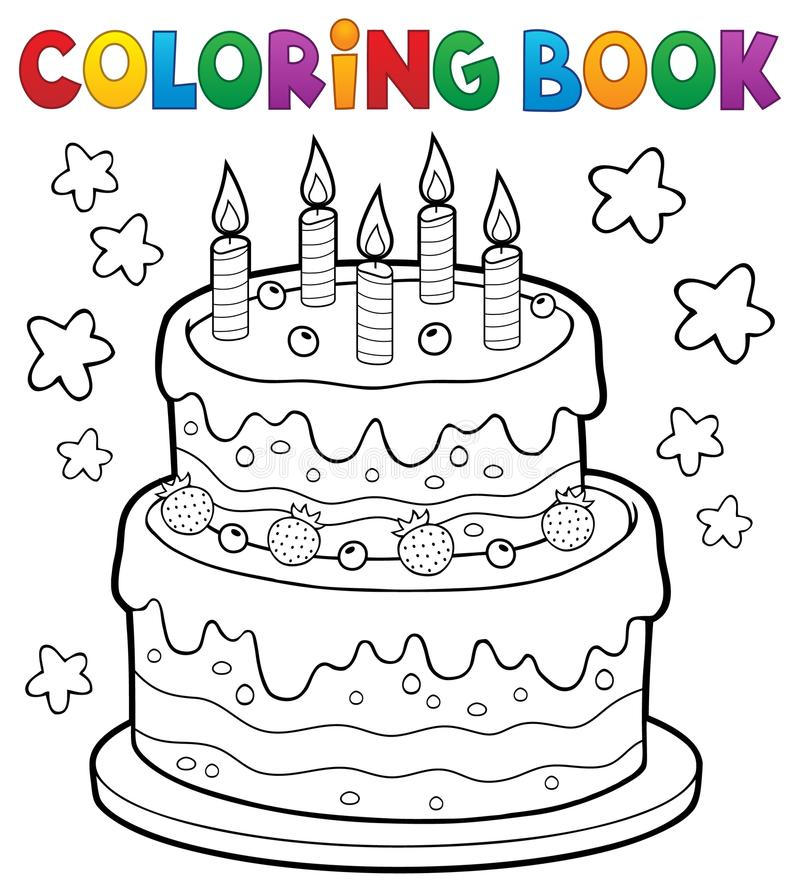 Coloring Book Cake With 5 Candles Stock Vector - Illustration of ...