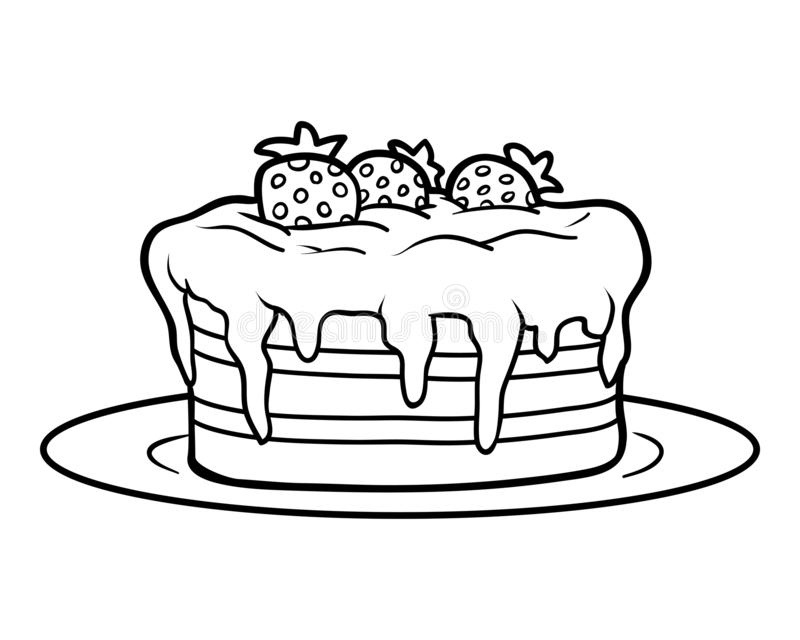 Coloring book, Cake stock illustration