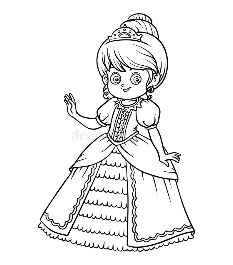Coloring book, cartoon character, Princess. Coloring book for children, cartoon character, Princess stock illustration